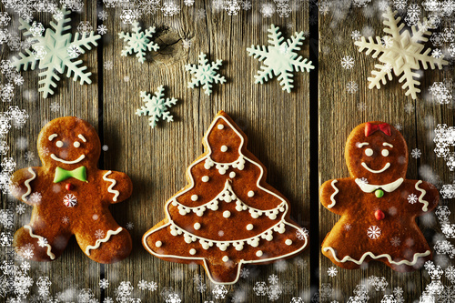 Christmas gingerbread couple and tree cookies Poster