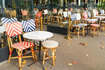 view of romantic Parisian street with cafe, Paris, France