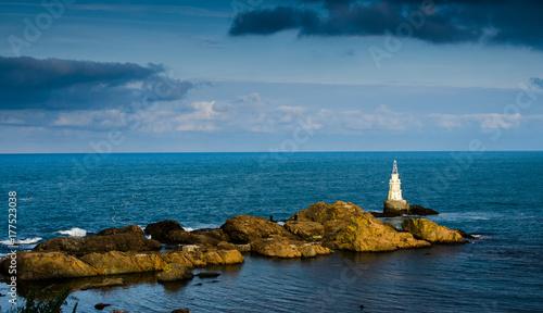 Fotobehang Groen blauw Ahtopol lighthouse, Black sea, Bulgaria