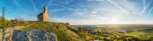 Fotobehang Herfst Saint Michael church and industrial park, Drazovce, Slovakia, autumn panorama