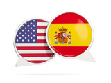 Chat bubbles of USA and Spain isolated on white - 177526291