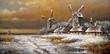 Winter village, landscape paintings, oil, canvas, art - 177530235