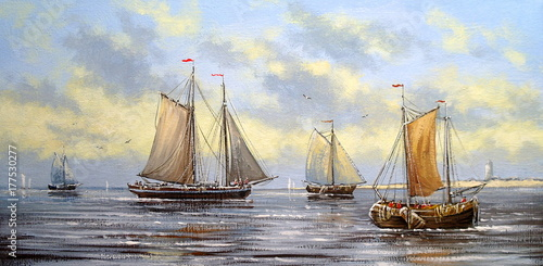 Sea landscape paintings, fisherman, oil, canvas, art - 177530277
