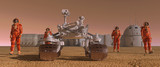 Mars colony. Expedition on alien planet. Life on Mars. 3d Illustration. - 177532007