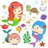 Mermaid  Set Wall Sticker