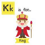 Cute Children Abc Alphabet K Letter Tracing Flashcard Of King For Kids Learning English Vocabulary In Happy Halloween Day Theme  Illustration Wall Sticker