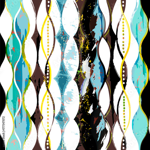 Fotobehang Abstract met Penseelstreken abstract pattern background, with circles, waves, strokes and splashes, grungy