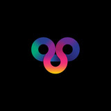 Loop logo, 3 loops logo, emblem gradient. Colorful figure in the form of loops on a dark background. - 177549853