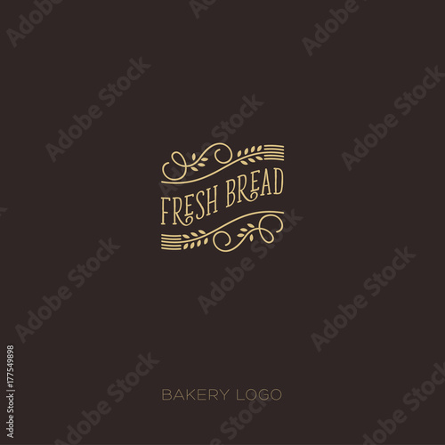Bakery logo. Bakery emblem. Logo with cones and curls, line design.