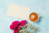 Coffee cup, flowers and paper note - 177550610