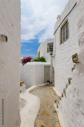The traditional streets of Chora town, Patmos island, Dodecanese, Greece