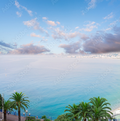 Fotobehang Nice habour of Nice and cote dAzur coast from above at sunrise, France