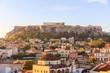 Athens, Greece. Acropolis rock and Monastiraki square early in the morning