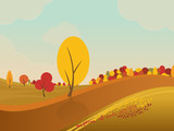 autumn rural landscape background with yellow trees in fields and hills.