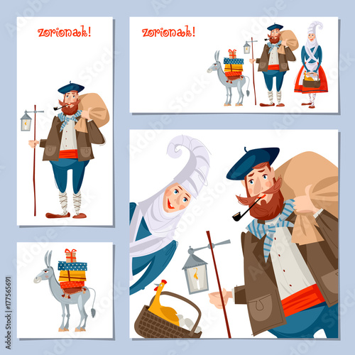 Spanish (Basque) Christmas Tradition. Set of 4 Christmas greeting cards with Olentzero, Mari Domingi and a little donkey loaded with gifts.