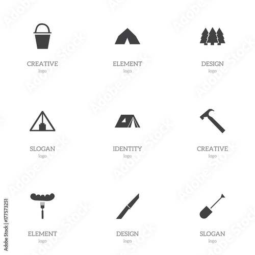 Set Of 9 Editable Camping Icons. Includes Symbols Such As Pail, Spade, Tepee And More. Can Be Used For Web, Mobile, UI And Infographic Design.