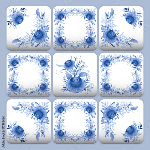 Fototapeta Cobalt blue flower pattern tiles