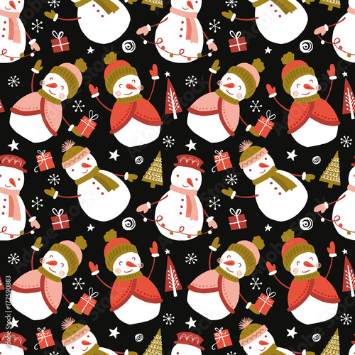 Materiał do szycia Holiday and Christmas hand drawing seamless pattern