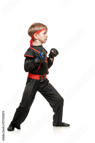 Practicing boy martial arts Poster