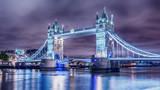London, the United Kingdom: Tower Bridge on River Thames at night