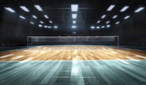 Empty professional volleyball court in lights - 177602277