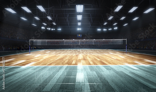 Fototapeta Empty professional volleyball court in lights