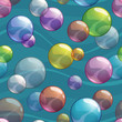 Seamless pattern with colorful transparent bubbles - 177610607