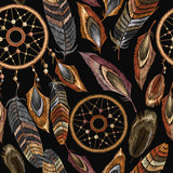 Embroidery dreamcatcher boho seamless pattern.  Native american indian talisman dreamcatcher. Clothes ethnic style. Fashionable template design clothes. Magic tribal feathers pattern, t-shirt design - 177610674