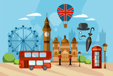 London City Skyline, London United Kingdom. London vector illustration. Travel and tourism background - 177610677
