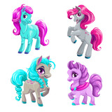 Cute cartoon little horses set.