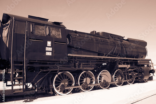 Polish steam locomotive with tender. Poster