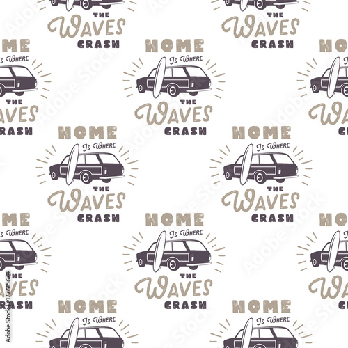 Cotton fabric Surfing old style car pattern design. Summer seamless wallpaper with surfer van, surfboards, sunbursts. Monochrome combi car. illustration. Use for fabric printing, web projects, t-shirts.