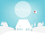 Merry Christmas. Santa Claus flying on the moon and snow in the winter season. Concept holiday vector illustration. Paper art style. - 177622648