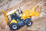 loader excavator with backhoe at sandpit - 177622658