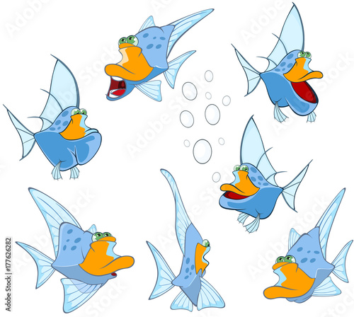 Deurstickers Babykamer Set of Cartoon Illustration. A Cute Fish for you Design