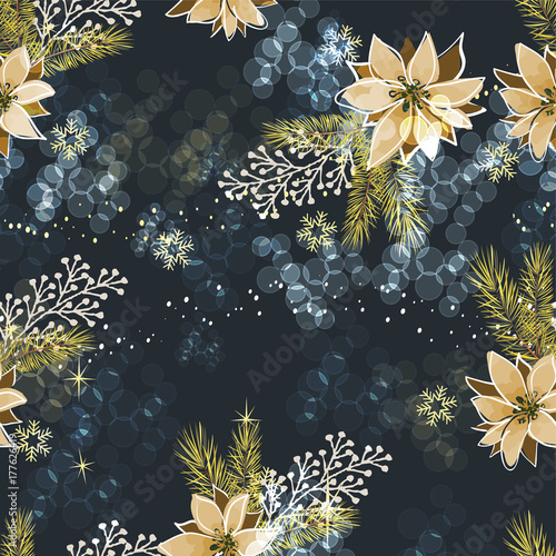 Cotton fabric Christmas seamless pattern with decorative elements