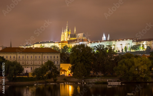 Staande foto Praag Prague Castle in Prague, Czech Republic. Embankment of the Vltava River
