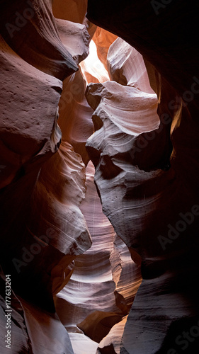 Fotobehang Bruin Upper Antelope Canyon is a slot canyon, result of eroded Navajo Sandstone, very popular and photogenic touristic destination close to Page in Northern Arizona.