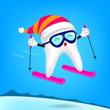 Cute cartoon tooth character skiing. Merry Christmas and happy new year. Healthy teeth concept. Illustration on blue background. - 177633619