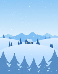 Vector illustration: Winter cartoon mountains landscape with house, pines and snowflakes. © deniskrivoy