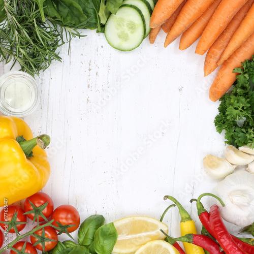 Poster Gemüse Sammlung Tomaten Karotten kochen Zutaten Quadrat Hintergrund von oben