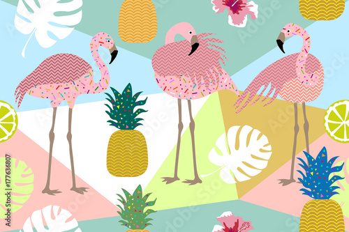 Dark tropical print. Seamless vector pattern with pink flamingos and golden pineapples.  - 177636807