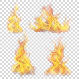 Set of fire flame on transparent background. For used on light backgrounds. Transparency only in vector format - 177637681
