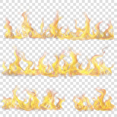 Set of horizontal fire flame on transparent background. For used on light backgrounds. Transparency only in vector format