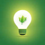 Green Eco Energy Concept Icon - Leaves Inside a Light Bulb