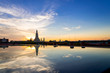 Sunset Wat Arun (Temple of Dawn) and Reflections of Wat Arun Pagoda on glass table is landmark of Attractions's Popular tourists, in bangkok Thailand