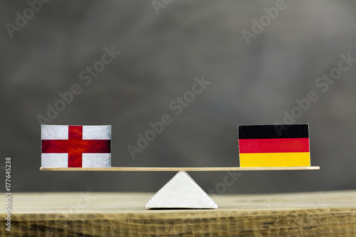 Germany and England Flag Seesaw or Scale in Balance Poster
