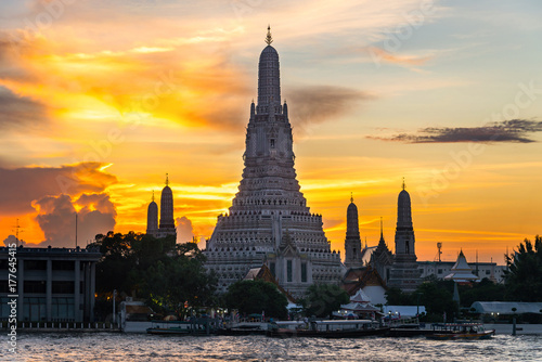 Sunset Wat Arun (Temple of Dawn) is landmark of Attractions's Popular tourists, Poster