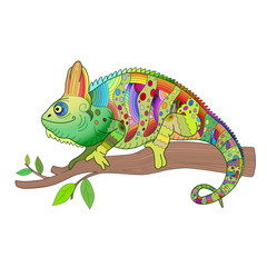 Hand drawn decorative chameleon is sitting on a tree branch