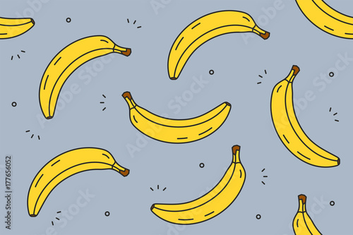 Bananas seamless pattern. Vector illustration - 177656052